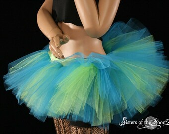 Adult tutu Peek a boo dance mini skirt Turquoise and neon citrus dance roller derby style --You Choose Size