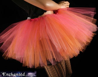 Peaches n' cream adult tutu skirt three layer mini pink orange roller derby party costume --You Choose Size -- Enchanted