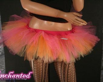 Peek a boo dance mini tutu skirt Pink orange and gold Adult ballet dance costume roller derby --You Choose Size -- Enchanted