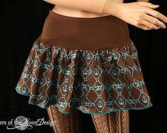 Pirate skull micro mini skirt Adult tutu topper brown teal -- You chose size -- SistersEnchanted