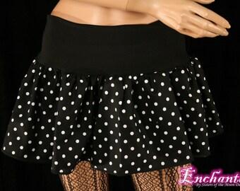 Polk a dot micro mini skirt Adult tutu topper circle skirt black white roller derby  -- You chose size -- SistersEnchanted