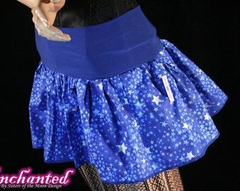 Blue Stars micro mini skirt Adult tutu topper circle skirt royal white roller derby  -- You chose size -- SistersEnchanted