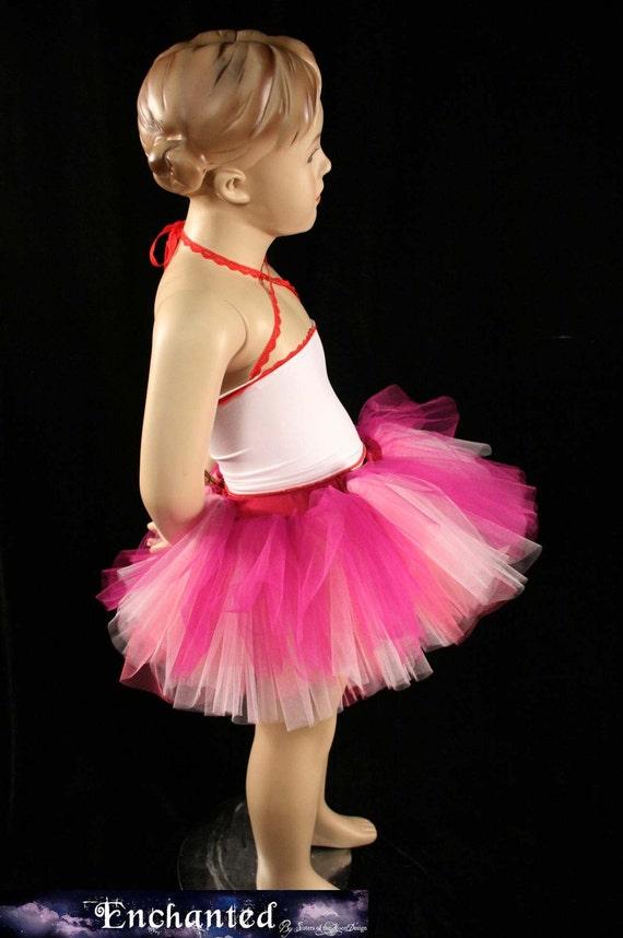 Childrens tutu skirt Peek a boo princess Rose Fairy mini fuchsia pink party run --2T-6T- Grow with me - SistersEnchanted