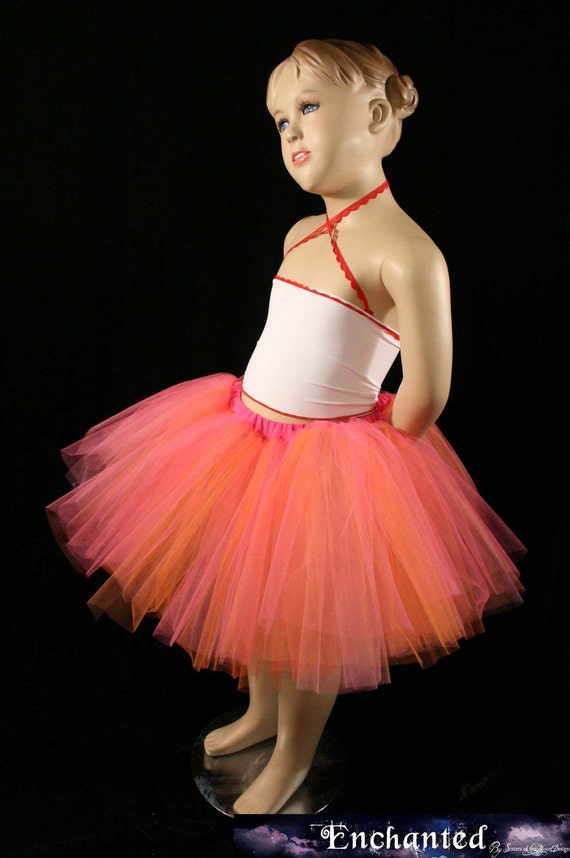 Childs tutu skirt peaches n' cream three layer mini pink aqua mint princess party --2T-6T-  Grow with me tulle skirt