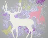 SALE Deer Art Print, Deer Decor, 5 x 5 inches