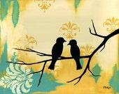 SALE Love birds art print, yellow turquoise cream, 10 x 8 Inches