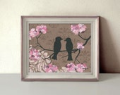 Bird Decor, Romantic Love Birds Art Print, Brown and Pink, Damask, Fleur de lis, Wedding Gift, 11 x 14 inches