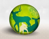 Pocket Mirror, Deer Family, Woodland, flowers, Lime Green Teal