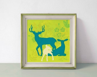 Deer Art Print, Deer Decor, Family, Green and Turquoise, Cottage Shabby, 12 x 12 inch print