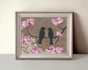 Bird Decor, Romantic Love Birds Art Print, Brown and Pink, Damask, Fleur de lis, Wedding Gift, 11 x 14 inches