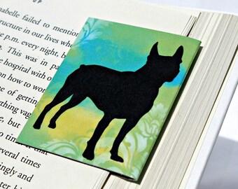 Boston Terrier Magnetic Bookmark, Gift for Dog Lover, Green Blue Damask