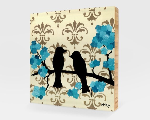 SALE Winter Love Birds Art Block, Print mounted on bamboo, 5 x 5 inches