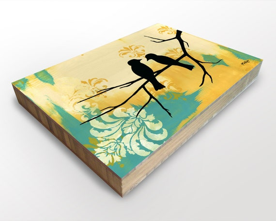 SALE Love birds print art block, silhouetted birds, damask, turquoise yellow