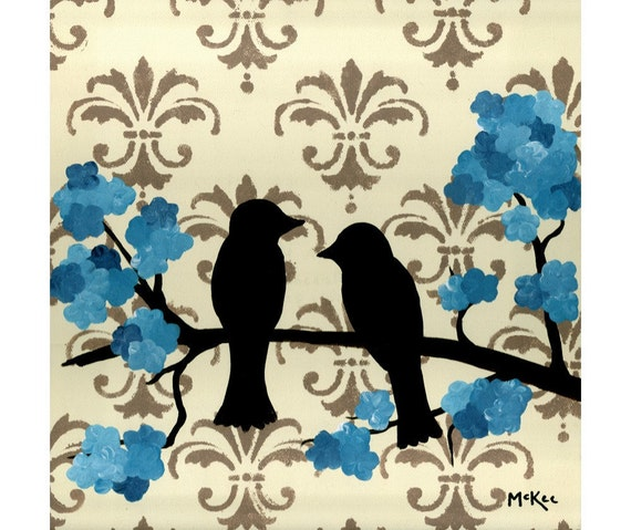 SALE Love Birds Print, Shabby Cottage Chic Decor, 5 x 5 inches