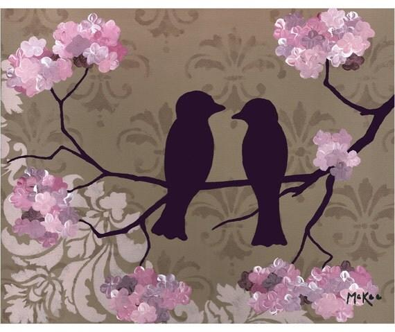SALE Love birds print, romantic art, shabby chic damask, brown and pink, 8x10 print