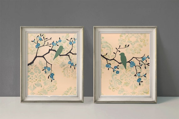 Love Bird Prints, Cottage Chic Wall Decor, Damask and Flowers, Large Prints, Set of Two, 11 x 14 inches