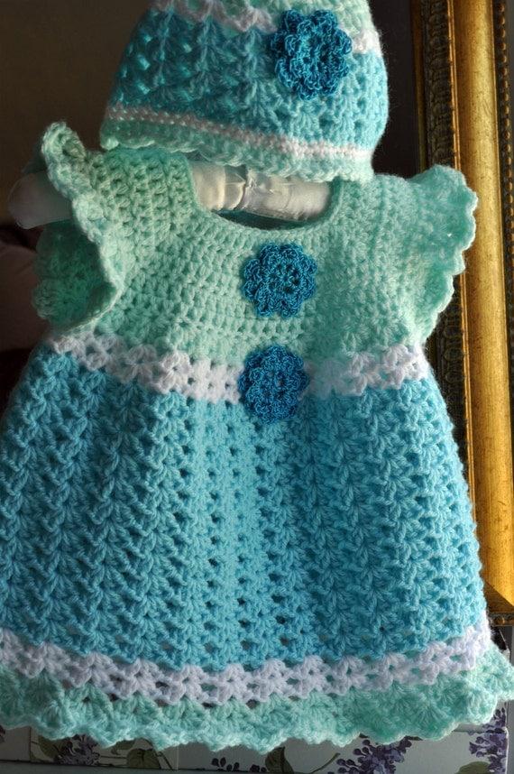 Crochet Aqua Blue Mint Green Baby Dress With By