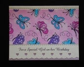 Girl Birthday Card, Butterflies Galore (BD76) front is designed with FABRIC...Buy any 10 items, get 1 FREE