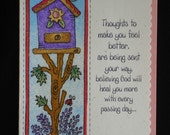Bright Birdhouse, Religious Get Well Card (GW41) designed with FABRIC