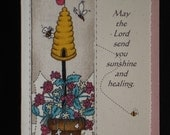 Religious, Handcrafted Get Well Card (GW47) front is designed with FABRIC...Buy any 10 items, get 1 FREE
