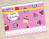 Cupcake Birthday Card (BD123), designed with FABRIC / Buy Any 10 Items, Get 1 FREE