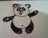 Reserved listing for Lindsay. One of a kind panda stamp.
