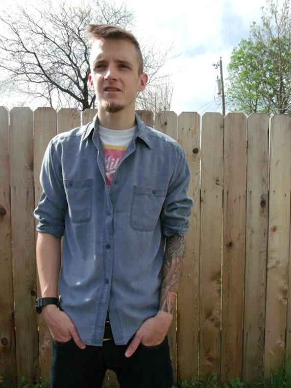 90s Grunge Faded Blue Button-Up for Men