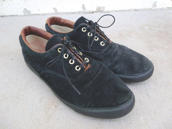 Vintage Black & Brown Suede Lace Up Sneakers - Women's Size 7.5 Regular