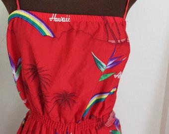 Vintage Red Hawaiian Tiki Aloha Jumper - size S