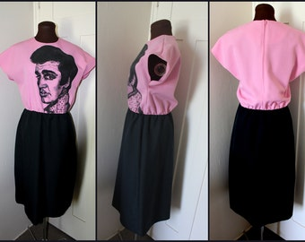 ELVIS - Hand painted on a Vintage Hot Pink & Black dress - Size: 12