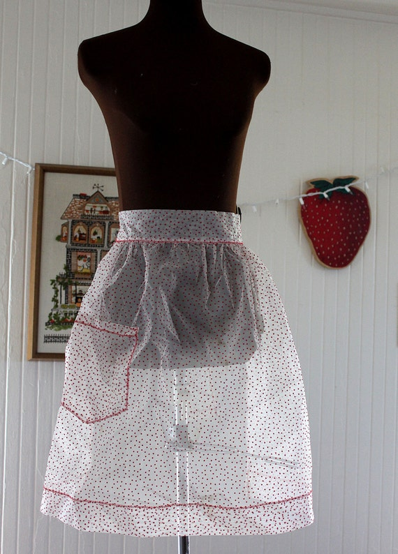 Vintage Sheer Red Chenille Dot Apron