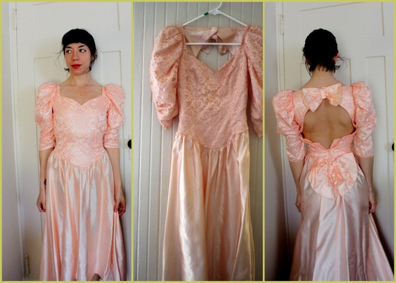 Vintage 50's Peachy Lace Prom / Party Dress - XS