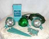 On Reserve for H. 6-8-12 1970s Malibu Turquoise Never Used Outdoor Transformer and 3 Lights