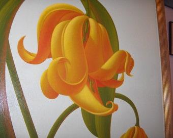 La Fleur des Pois, Sweet Pea, Wonderful Bright 1987 Painting by Parker Peterson  TouchTow ORR