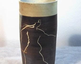 Running Woman Sgraffito & Masking Designed 1950s Vase signed Gardiner
