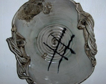 Snake Handle NW Studio Pottery  Bowl, or Platter  by A. Y. Bain 1939 to 2008