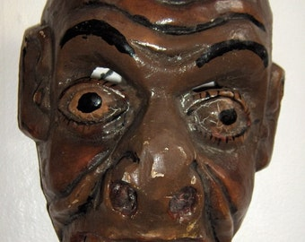 Wonderful Hand Carved Folk Art New Orleans, Rio Grande, African Face Mask