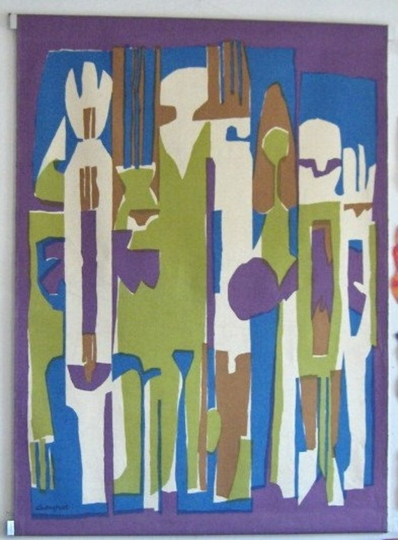 """On 24 hour reserve SMH M French Illustrator's Mid Century Modern 55"""" by 41""""  Abstract Serigraph, Silkscreen Textile on Cotton signed Gaynor"""