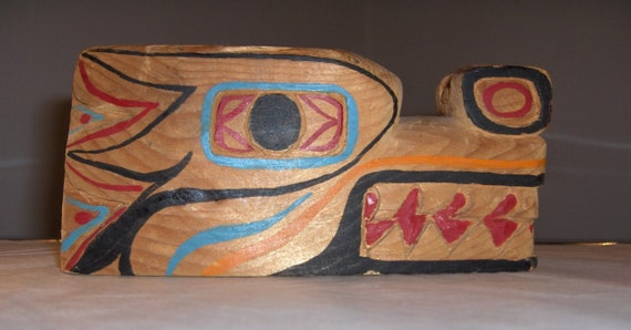 Remembrance, Memorial NW Native American Primitive Tribal  1963 Wood Carving