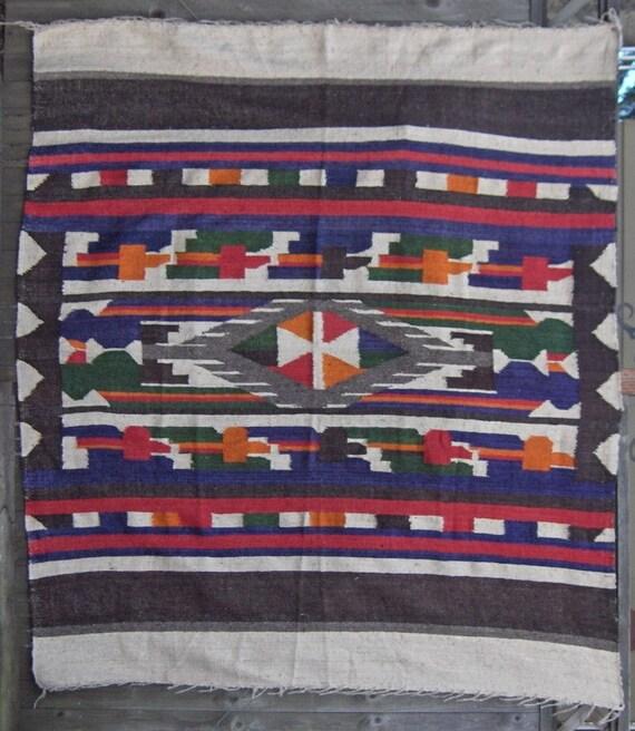 On Reserve 1975 Mayan Quetzal Bird Design Handwoven Colorful Wool Blanket