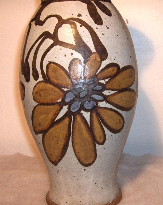 Flower Power Large Art Pottery Vase 1977 signed McKee
