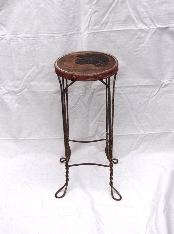 Antique Chicago Wrapped Industrial Wire Stool With Remnats Of