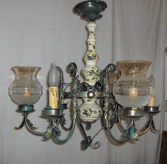 Italian Hand Painted Porcelain 6 arm 1950s Chandelier with White Frosted Glass Shades