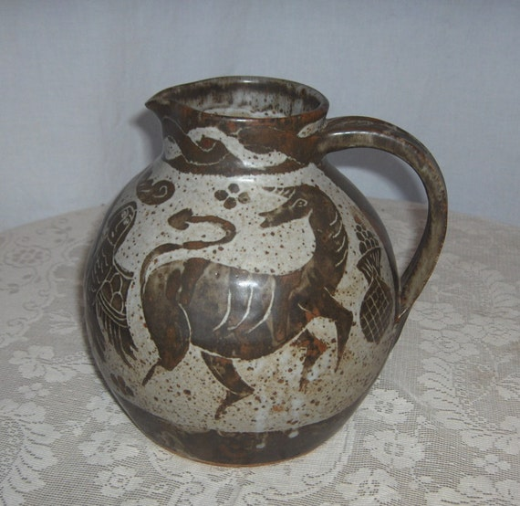 Dave (1943-2010) and Sue Enna Oregon Folk Art Potters 1973 Commemorative Pitcher