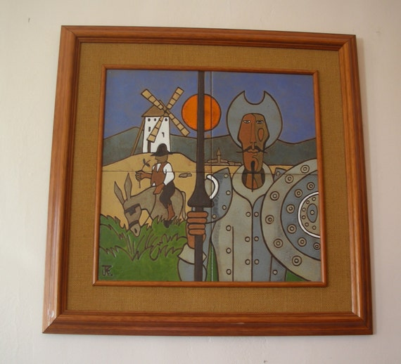 Don Quixote, Sancho Panza & the Monstrous Giants (windmills) Mid Century Modern Figural Signed Framed Wall Art Tiles  ~ Amazing Condition