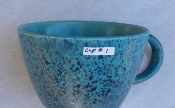 Felix Tissot Blue Matte Splatter Glazed Tea / Coffee Cup 1 of 8