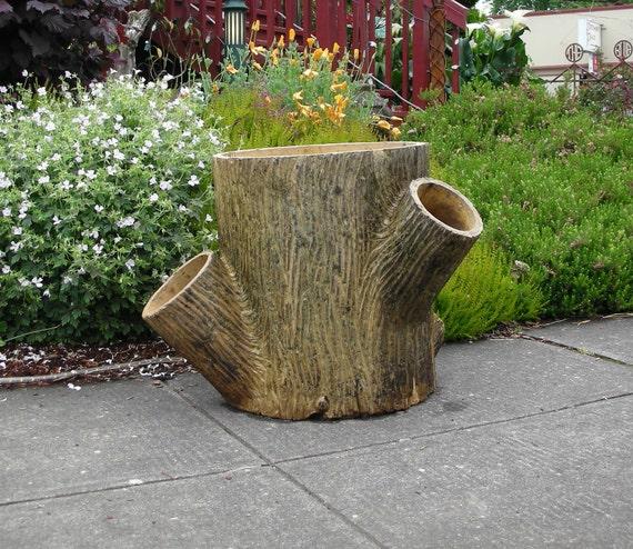 Antique Large Sewer Tile Folk Art Signed Tree Trunk Planter