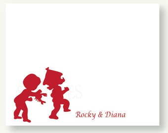 Set of 10 Beach Fun Personalized Silhouette Flat Note Cards