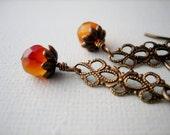 Natural Carnelian Earrings / Antique Brass /  Orange / Dangle