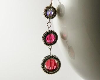 Pink  Rose Coral  Swarovski  Crystal Earrings  /   Linear / Trendy /Modern